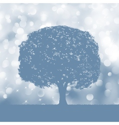 Tree silhouette blue and white landscape eps 8 vector