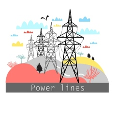 Towers with power lines vector