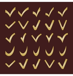 Set of different golden check marks vector