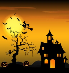 Halloween night background with witch and pumpkins vector