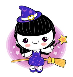 Little witch broomstick ride to travel vector