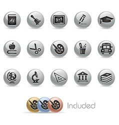 Education icons metalround series vector