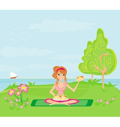 Girl on picnic and plate of sandwiches vector