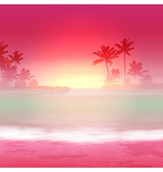 Background with sea and palm trees vector