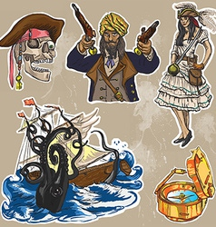 Pirates - an hand drawn colored pack no2 vector