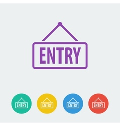 Entry flat circle icon vector