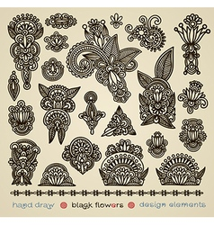 Hand draw black flower design element vector