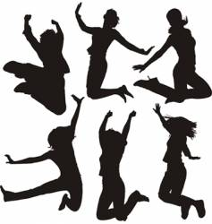 Jumping people silhouettes vector