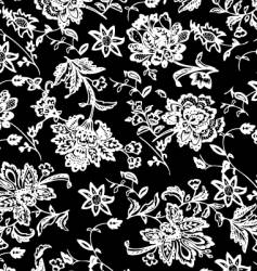White and black flower pattern vector