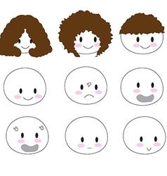 Cute emotion faces1 01 vector