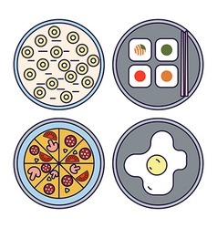 Thin line flat design food icons vector