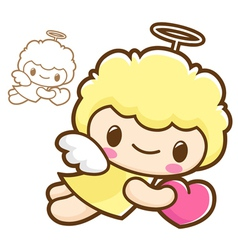 Holding hearts flying angel characters vector