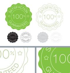 Green satisfaction guaranteed seal design set vector