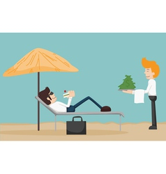 Business man relaxing on the beach vector