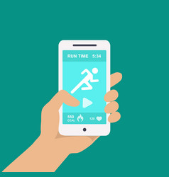 Fitness app on a mobile phone in hand vector