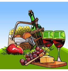 Picnic basket with fruit and a bottle of wine vector