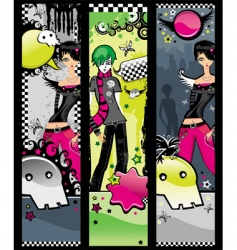 Set of emo banners vector