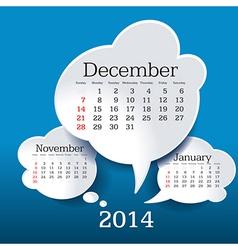 December 2014 bubble speech calendar vector