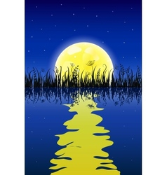 Yellow moon with reflection at water and grass vector