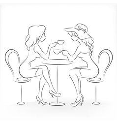 Woman sit in the cafe and drink coffee vector