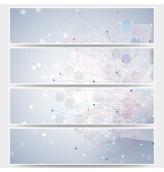 Web banners set molecular design header layout vector