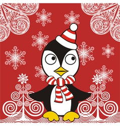 Christmas penguin background vector