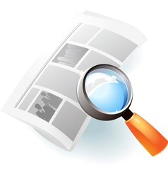 Icon of newspaper and lens vector