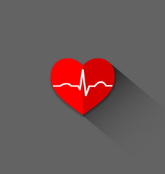 Flat trendy heart beat icon vector