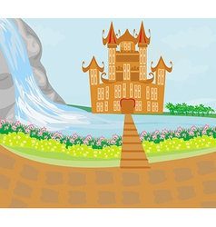 Panorama with medieval castle vector