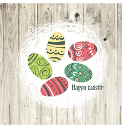 Easter nest on wooden texture vector