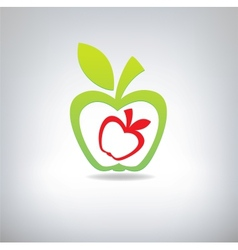 Green and red apple on a grey background vector