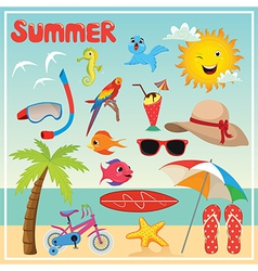 Set of summer elements and vector