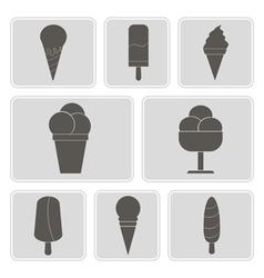 Monochrome icons with ice cream vector