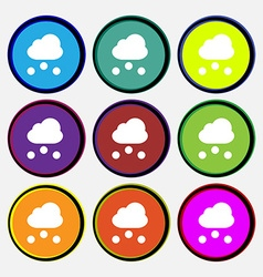Snowing icon sign nine multi-colored round buttons vector