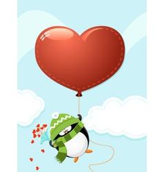 Penguin with big heart vector