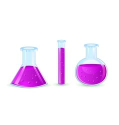 Glass flasks with violet substance vector