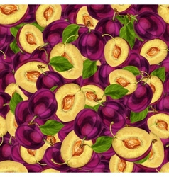 Seamless plum fruit sliced pattern vector