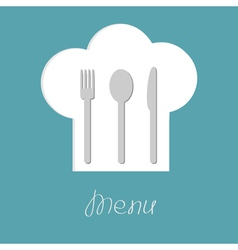 Chef hat with fork spoon and knife inside menu vector