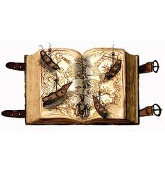 Open book open map old sailboats - adventure vector