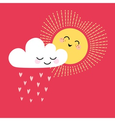 Sun and cloud vector