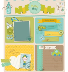 Scrapbook design elements - baby boy cute set vector