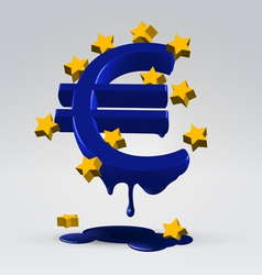 Euro melting dripping vector