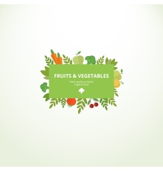 Label with fresh fruits and vegetables vector