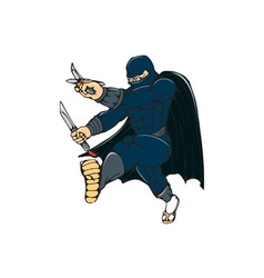 Ninja masked warrior kicking cartoon vector