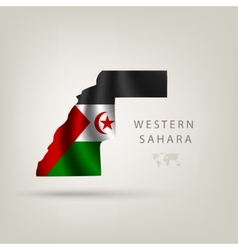Flag of western sahara as a country with a shadow vector