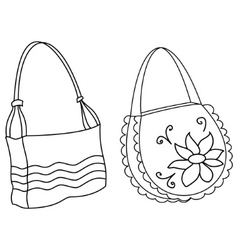 Female handbags contours vector
