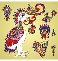 Hand draw ornate bird and flower design element vector