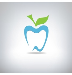 Silhouette of a tooth in the form of an apple vector