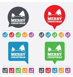 Merry christmas sign icon trees symbol vector