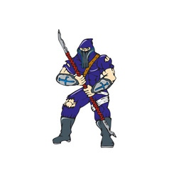 Ninja masked warrior spear cartoon vector